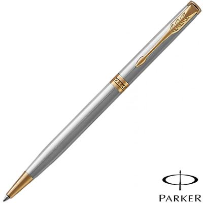 Parker Sonnet Stainless Steel Slim Gold Trim Ballpoint Pen