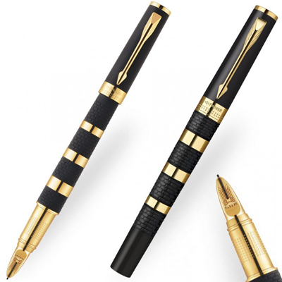 Parker Ingenuity Large Black and Gold Rings Pen