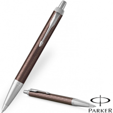 Parker IM Premium Brown Chrome Trim Ballpoint Pen new