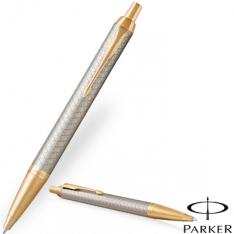 Parker IM Premium Warm Silver Gold Trim Ballpoint Pen new