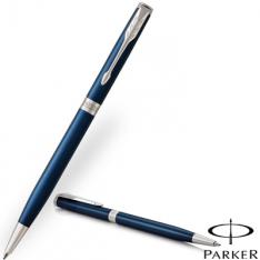 Parker Sonnet Slim Lacquer Blue Chrome Clip Ballpoint Pen