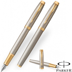 Parker Im Premium Warm Silver Gold Trim Fountain Pen